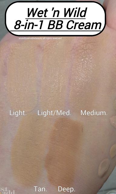 Wet 'n Wild BB Cream; 8-in-1 Beauty Balm SPF 15; Fergie Center Stage Glammaker Swatches of Shades; A101 Light, A102 Light/Medium, A103 Medium, A104 Medium Deep, A105 Deep