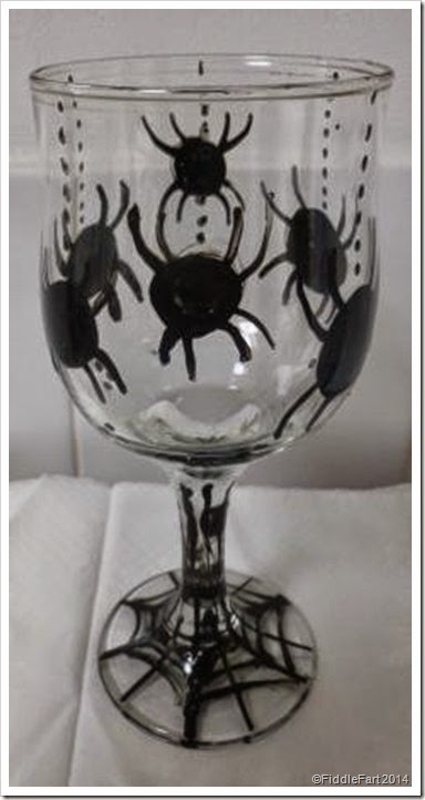 Halloween spider glass handpainted