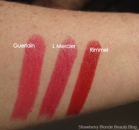 Laura-Mercier-Guerlain-Rimmel-red-lipstick-swatches
