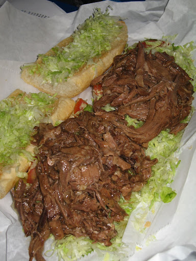 Betsy called dibs on this roast beef Po' Boy.