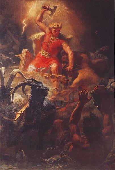 Thor en la batalla contra los gigantes según Mårten Eskil Winge 1872