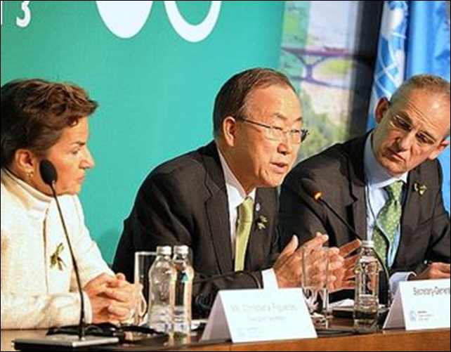 Secretary General of the United Nations Ban Ki-moon speaks at a press conference at the Warsaw climate change talks on 19 November 2013. Photo: United Nations