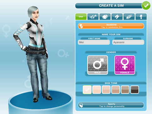sims freeplay character