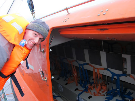 Taking a look around one of the lifeboats.