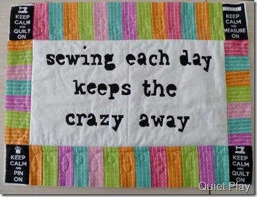 Sewing mini quilt