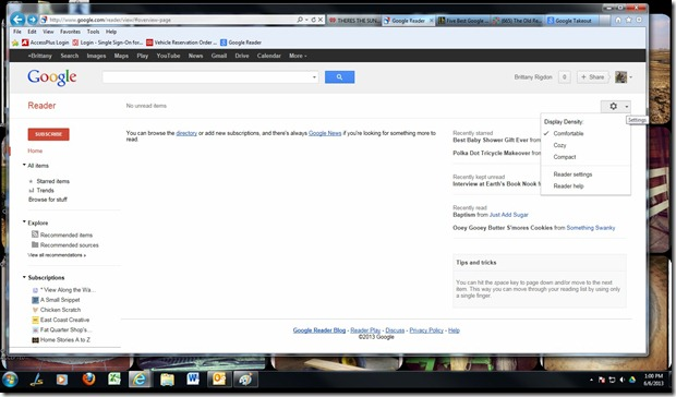 google reader setting