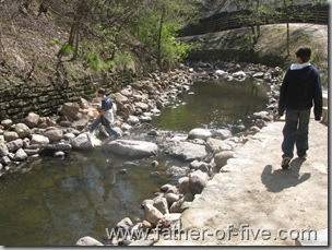 """Following the creek.  Notice in the left center of the photo - one of the boys crossing the creek.  See how there is NO TRAIL on that side.  Time for a little """"OFF TRAIL EXPORING"""" for the boys!"""