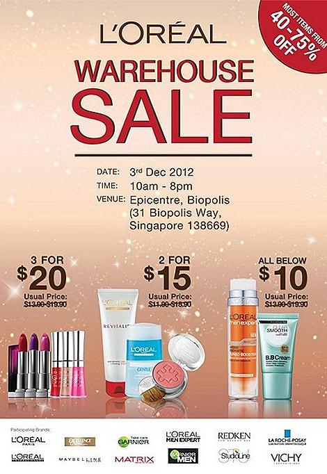 L'Oreal Warehouse SALE 2012 Vichy Maybelline Cosmetics Skincare Haircare Redken Matrix Studioline La Roche Posay Garnier