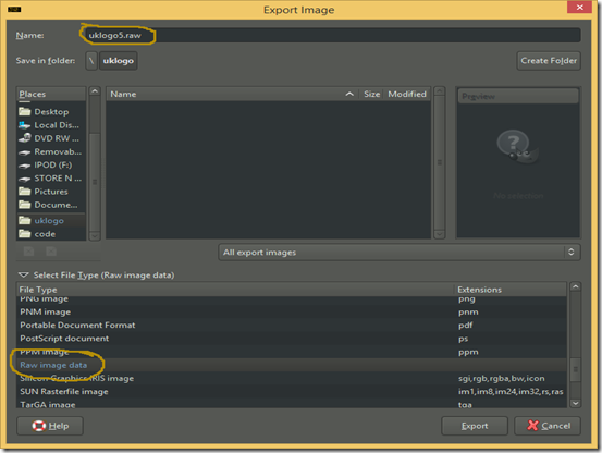 Export Image dialog screenshot
