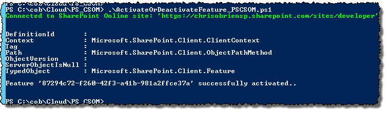 PS CSOM activate feature