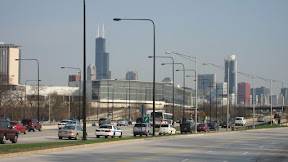 Looking towards the Sears Tower in downtown Chicago