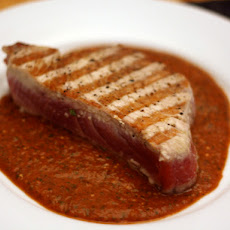 Dinner Tonight: Grilled Tuna with Red Tomatillo Sauce