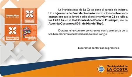 Jornada de Fortalecimiento Institucional sobre voto extranjero en el Partido de La Costa