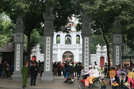 Outside the Temple of Literature, the home of Confucious learning in Vietnam.