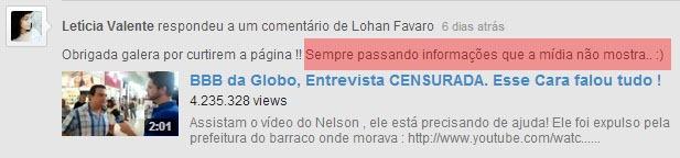Comentário Letícia no Youtube