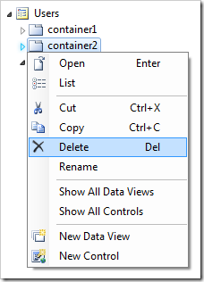 Deleting 'container2' on the Users page.