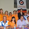 El máximo líder de Centro Democrático, Jimmy Jairala, junto a la directiva del Frente Femenino