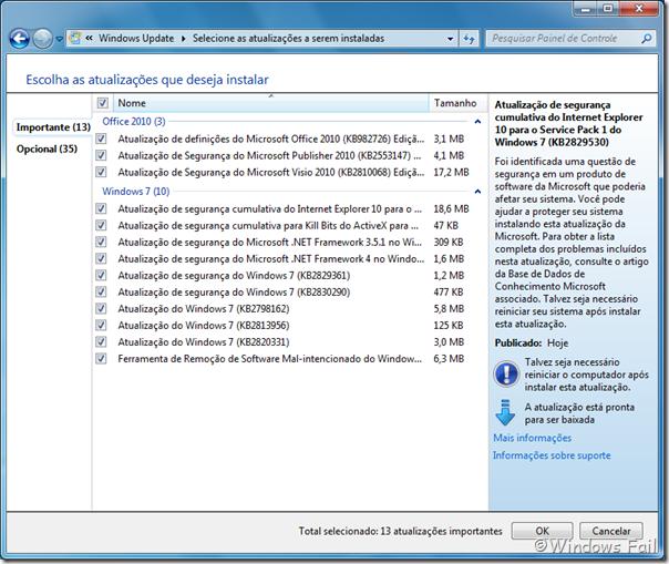Atualizações do Windows 7 - 14-05-2013