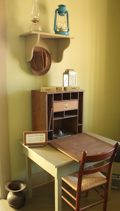 One of the rooms in the Fort Supply guardhouse, the restored office of the sergeant of the guard, provides insight into the workaday lives of soldiers at the fort.