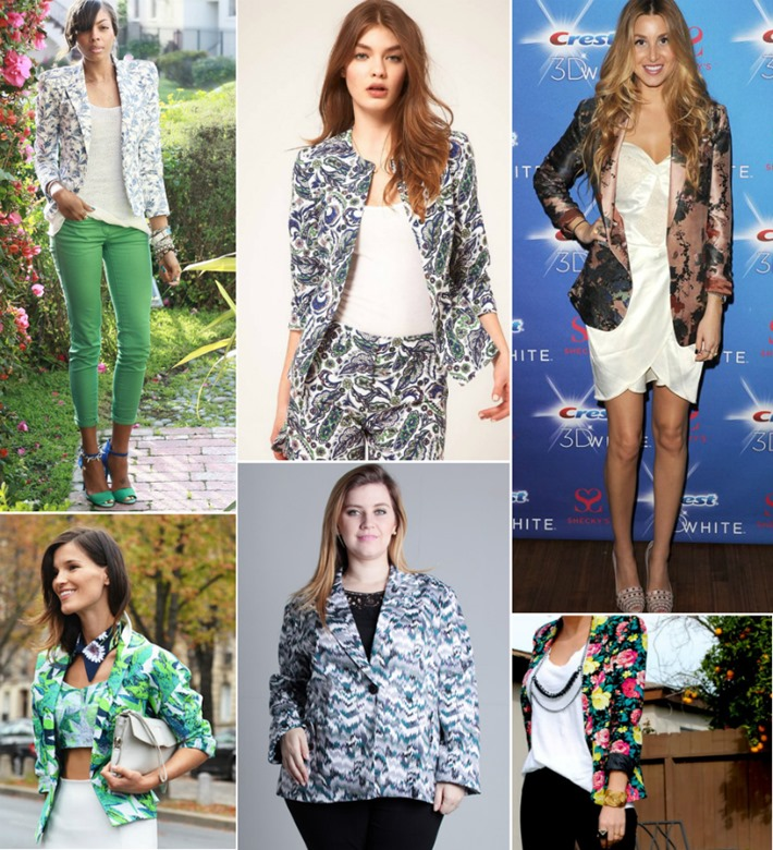 looks moda blazer estampado