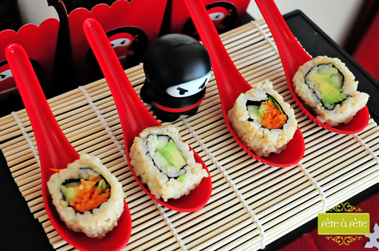 veg-sushi-on-spoons---Ninja-Party-by-Fete2