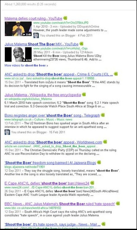 Shoot the Boer 1 260 000 Google results Dec 23 2011