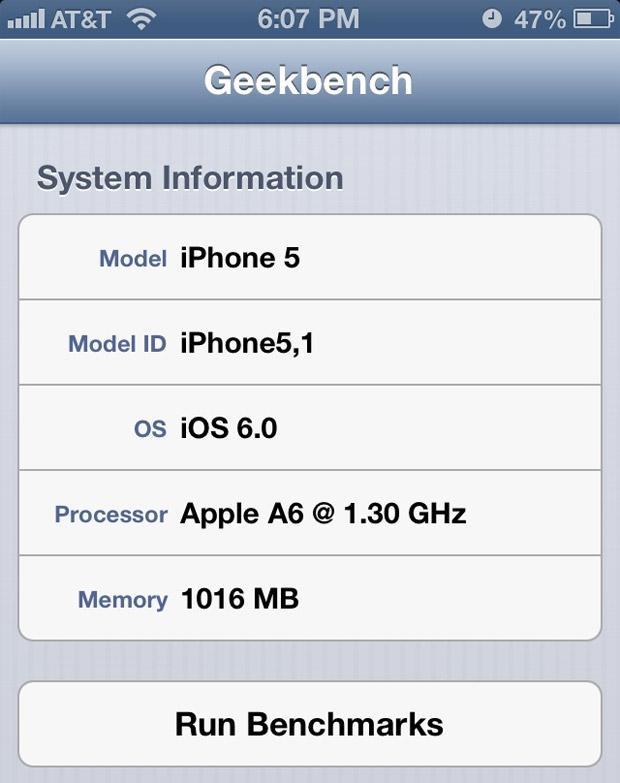 velocidad de procesador de iphone 5