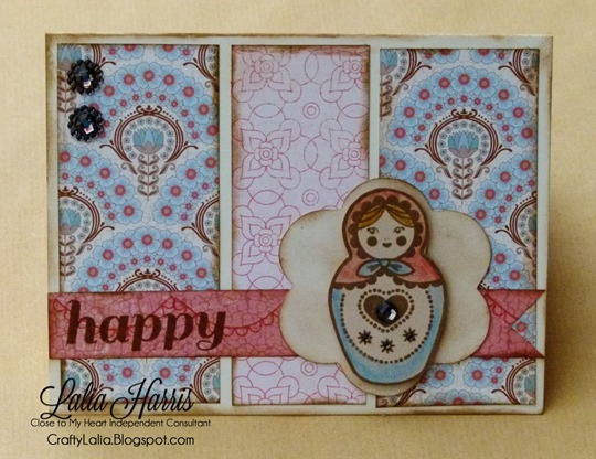CTMH Stamp of the Month Card using Balloon Ride featuring a Matryoshka doll by Lalia Harris