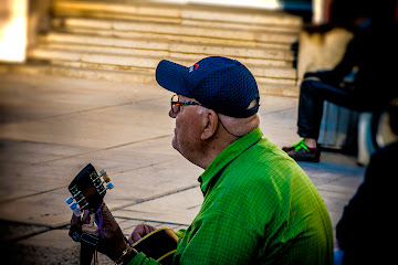 Old man playing guitar in Plovdiv Bulgaria