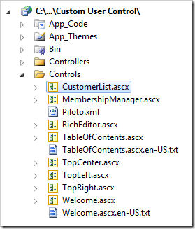 CustomerList user control in Visual Studio's Solution Explorer.