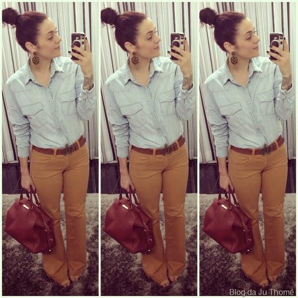 look calça fllare camel e camisa jeans (1)