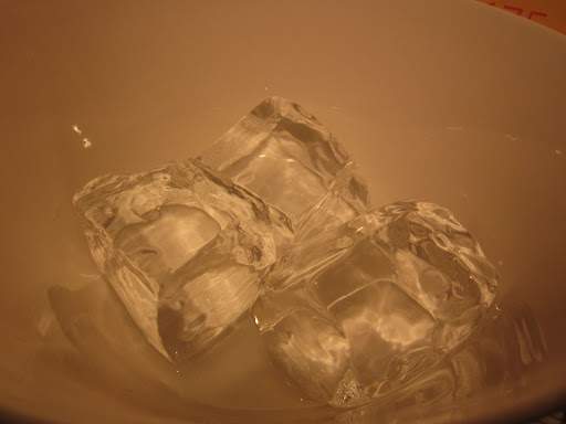Richard brought in huge, perfectly clear ice cubes from his bar.
