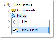 New Field context menu option for OrderDetails controller in the Project Explorer.