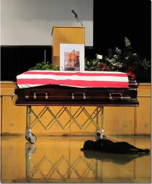 Loyal Dog, Hawkeye, Lays at the Casket of Fallen Navy Seal