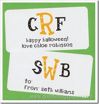 halloween monogram rect stickers