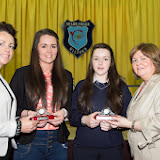 Fiona Temple, Principal, Roisin Boyce, Best Leaving Cert, Orla McGonigle, Best Junior Cert and Catherine McHugh, Deputy Principal at the Mulroy College prize giving on Thursday night last. Photo Clive Wasson.