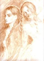 Enigma Otiliei - Otilia si Aurica pictate cu cafea