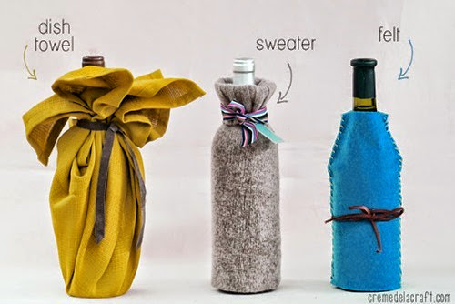 DIY-Handmade-Wine-Bag-Sweater-Felt-Towel-Craft-Project-Idea