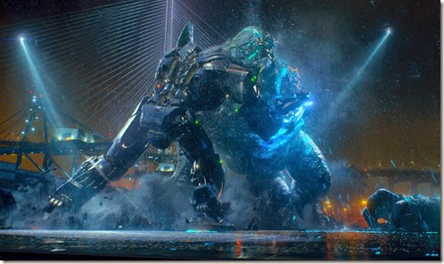 Gipsy Danger wrestles with Category 4 Kaiju Leatherback