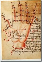 La main, meilleur outil pour apprendre l'alphabet. XVe s. Bnf, ms Nouvelles acquisitions latines 1090 f° 82 v°