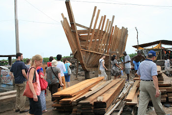 'Exploring the fishing boat yards in Elmina.' Photo by Sandra Vu