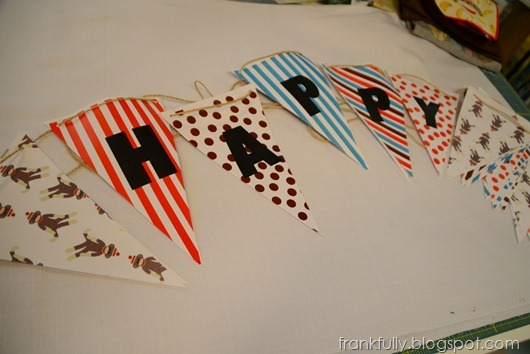 sock monkey happy birthday banner bunting
