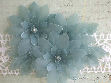 Prima Sunkissed Papers, Vellum Flowers, Layering Daisy Punches, Gems, by Carla for Scrapadoodle (2)