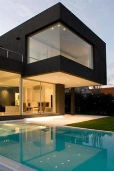 Modern-minimalist-black-home-design-swimming-pool-view