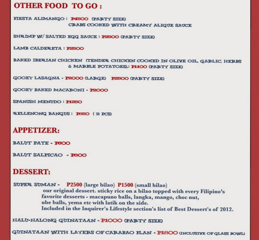 PEPITAS TO GO menu october 2013 2