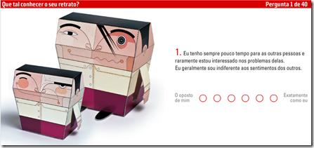 Tela da primeira pergunta do teste de personalidade da Superinteressante baseado na teoria dos 5 fatores