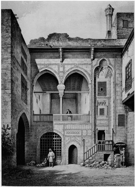 Bayt al-Emir,courtyard, 17th century. Prisse, intngued by social history, has captured the heart of Bayt al-Emtr— the courtyard. He examines degrees of privacy through emphasis on several key features: the central grid window, evocative of a sabil facade; the arch-lined hall above: and the mashrabiya coverings.