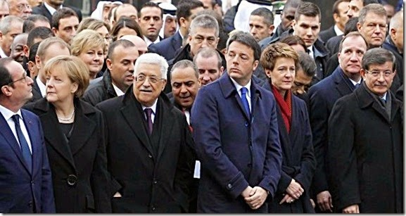 Paris Rally- Hollande, Merkel, Abbas and Davutoglu