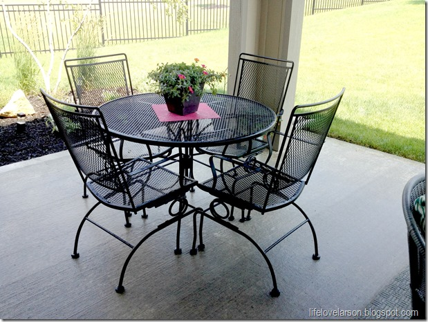 larson spray painted wrought iron patio table