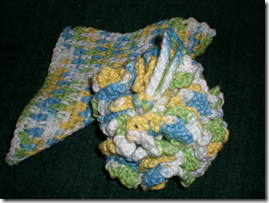 500pyellowwhitebluegreenscrubbie washcloth